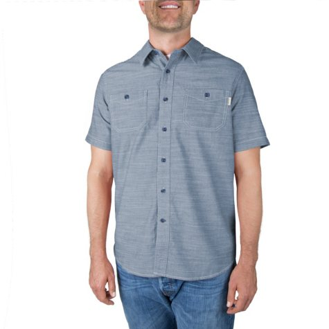 Men's Textured Woven Short-Sleeve Shirt (Assorted Colors)