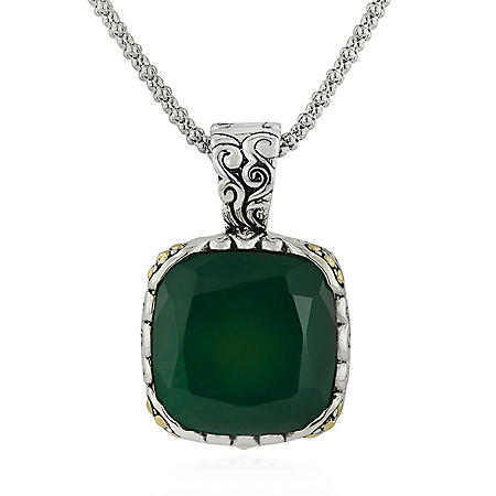 Robert Manse Green Chalcedony Necklace in Sterling Silver with 18K Gold Accents