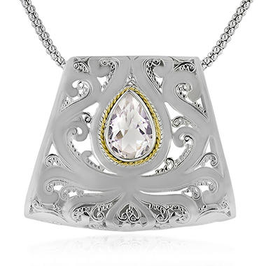 Robert Manse White Topaz Slider Necklace in Sterling Silver with 18K Gold Accents