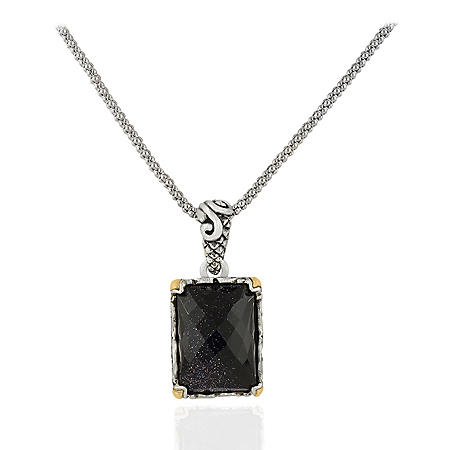 Robert Manse Blue Goldstone Necklace in Sterling Silver with 18K Gold Accents