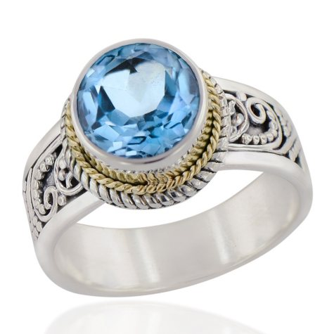 Robert Manse Round Blue Topaz Ring in Sterling Silver with 18K Gold Accents