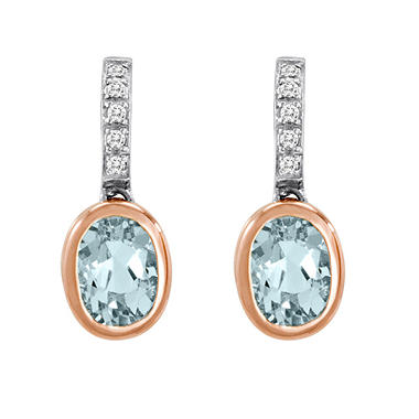 1.20 ct. t.w. Aquamarine and Diamond Accent Earrings in 14k Two-Tone Gold