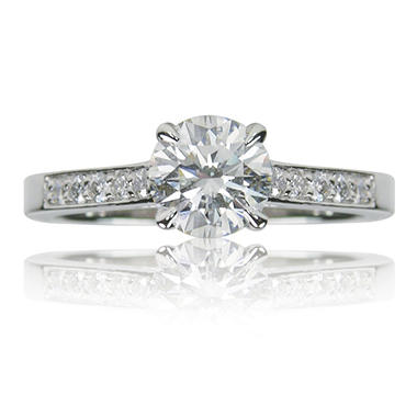 1.42 ct. t.w. Round Brilliant Diamond and Platinum Engagement Ring (E, VS2)