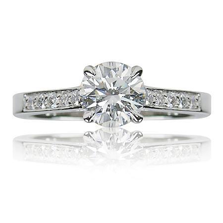 1.72 ct. t.w. Round Brilliant Diamond and Platinum Engagement Ring (G, VS2)