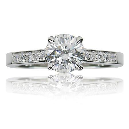 1.25 ct. t.w. Round Brilliant Diamond and 14k White Gold Engagement Ring (F, VS2)