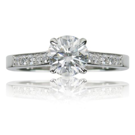 1.26 ct. t.w. Round Brilliant Diamond and Platinum Engagement Ring (D, IF)