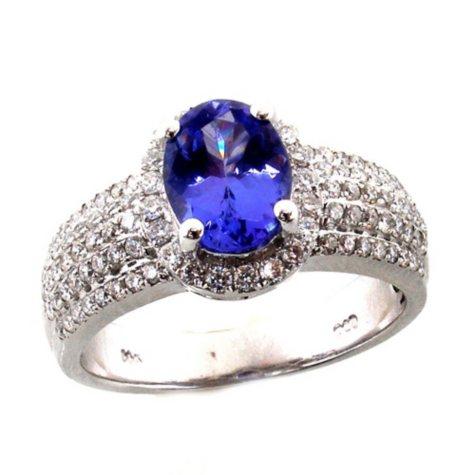 1.25 ct. Oval Tanzanite 0.50 ct. t.w. Diamond Ring 14K White Gold (H-I, I1)
