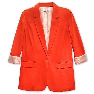 Long Sleeve Blazer with Contrast Neck Trim - Various Colors