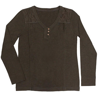 Ladies Slub Lace Long Sleeve Henley Shirt - Various Colors