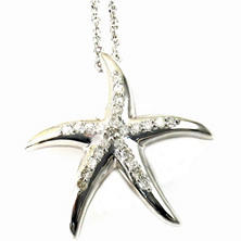 0.11 ct. t.w. Round Diamond Starfish Pendant in 14k White Gold (G, I1)