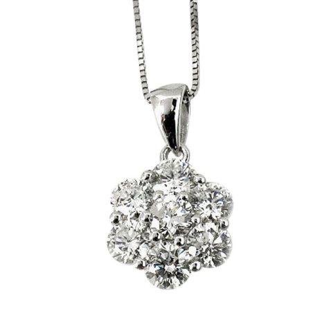 0.75 ct. t.w. Round Diamond Flower Pendant in 18k White Gold (G,SI2)