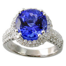3.72 CT. Round Tanzanite Ring with 1.05 CT. T.W. Diamonds in 18k White Gold