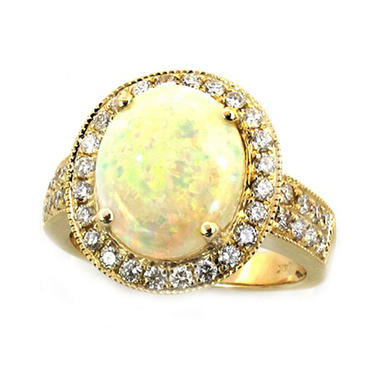 2.97 ct. Oval Opal Ring with Diamonds in 14k Yellow Gold
