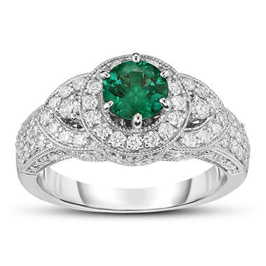 1.00 ct. Round Emerald Ring with Diamonds in 14k White Gold(G,SI2)