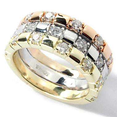 rose barkev wedding tri rings solitaire white yellow s gold color