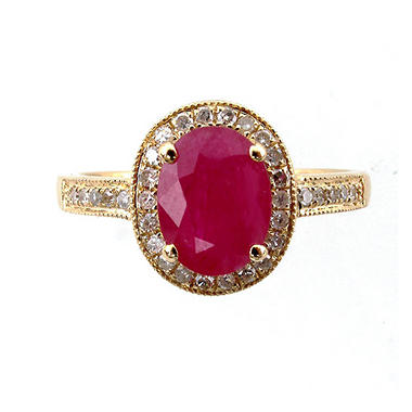 14K Composite Ruby & Diamond Ring