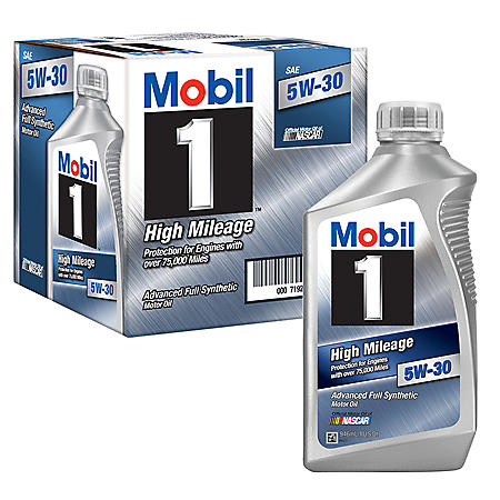 Mobil 1 5W-30 High Mileage Advanced Full Synthetic Motor Oil (1-qt. bottles, 6 pk.)