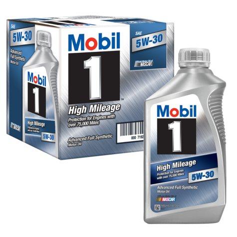Mobil 1 5W-30 High Mileage Advanced Full Synthetic Motor Oil (1-qt. bottles, 6 pk.)