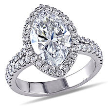 3.70 CT. T.W. Marquise-Cut Diamond Halo Engagement Ring in 18K White Gold