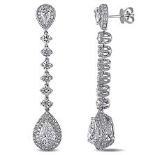 5.0 ct. t.w. Pear-Cut Diamond Halo Teardrop Earrings in 18k White Gold