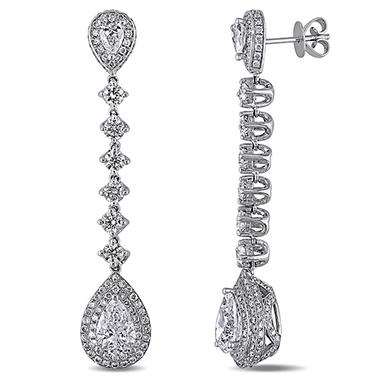 Allura 5.0 CT. T.W. Pear-Cut Diamond Halo Teardrop Earrings in 18k White Gold