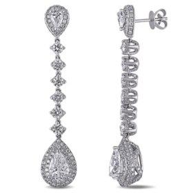 Allura 5.0 CT. T.W. Pear-Cut Diamond Halo Teardrop Earrings in 18k White Gold