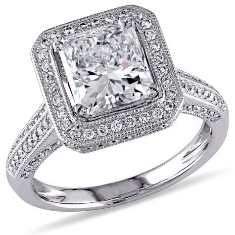 Allura 2.75 CT. T.W. Diamond and Sapphire with Pink Tourmaline Halo Engagement Ring in 18K White Gold