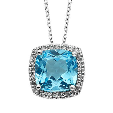 Blue Topaz and Diamond Pendant in 14K White Gold