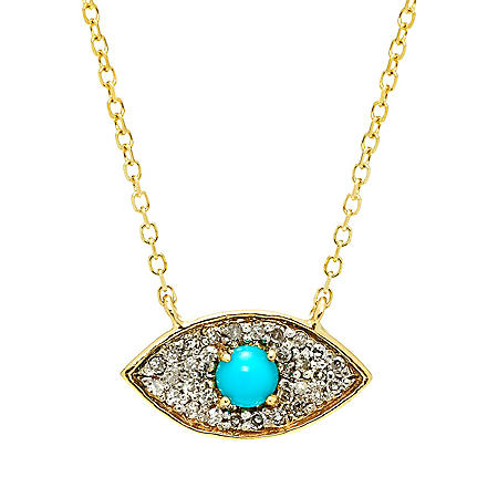 Evil Eye Diamond and Turquoise Pendant