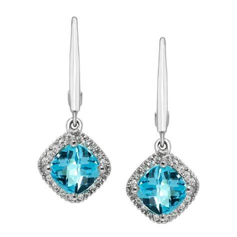 Blue Topaz and Diamond Earrings in 14K White Gold