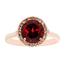 Garnet and Diamond Ring in 14K Rose Gold
