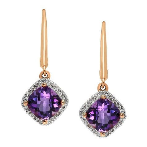 Amethyst and Diamond Earrings in 14K Yellow Gold