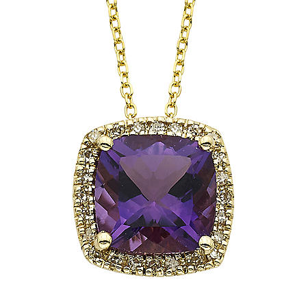 Amethyst and Diamond Pendant in 14K Yellow Gold