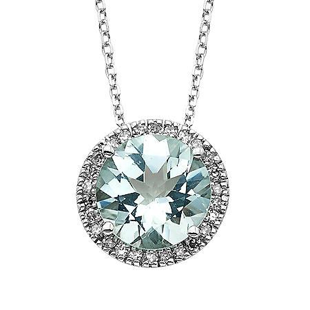 Aquamarine and Diamond Pendant in 14K White Gold