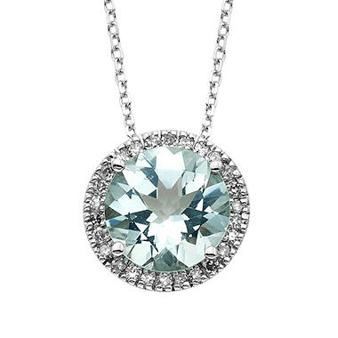 Aquamarine and Diamond Pendant in 14K White Gold
