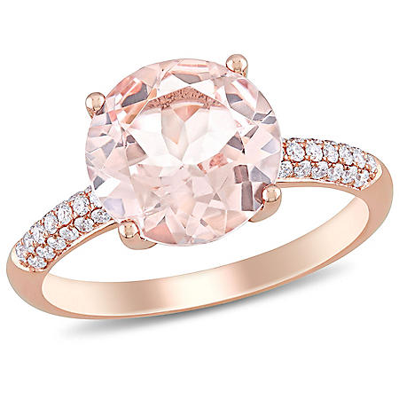 3.00 CT. Morganite with Diamond Cocktail Ring in 14K Rose Gold