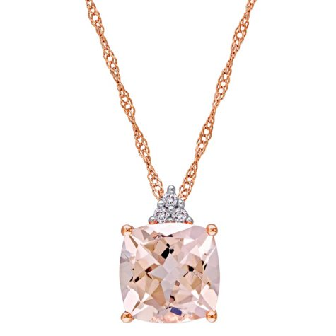 2.00 ct. Morganite and Diamond Accent Fashion Pendant in 14K Rose Gold