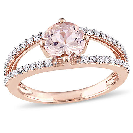 1.17 ct. Morganite with Diamond Split Band Ring in 14K Rose Gold