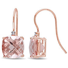 6.00 ct. Morganite and Diamond Accent Shepherd Hook Earrings in 14K Rose Gold