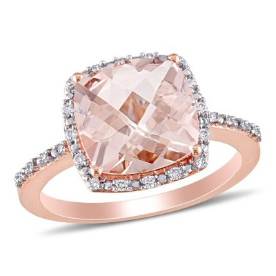 300 ct Morganite with Diamond Halo Cocktail Ring in 14K Rose