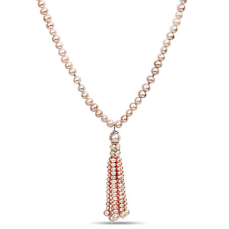 Cultured Freshwater Pearl Tassel Necklace with Sterling Silver Clasp