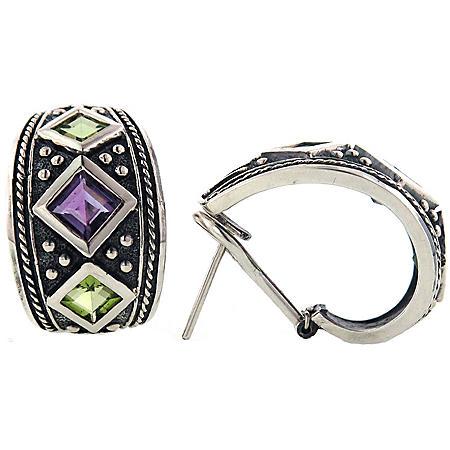 Peridot and Amethyst Earrings Set in Sterling Silver