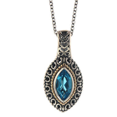 Blue Topaz Pendant in Sterling Silver and 14K Yellow Gold