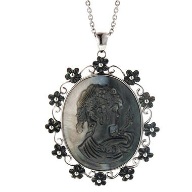 Mother of Pearl Cameo Pendant in Sterling Silver