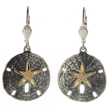 Sand Dollar Earrings in Sterling Silver & 14K Yellow Gold