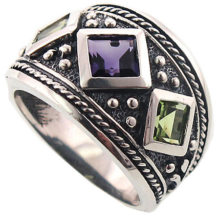 Peridot and Amethyst Ring Set in Sterling Silver