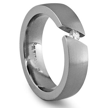 Gray Titanium Men's Band with Diamond Accent - 6 mm