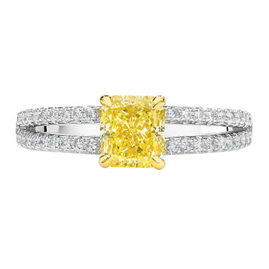 1.43 CT. T.W. Fancy Light Yellow Radiant-Cut Split Shank Ring In Platinum & 18K Yellow Gold