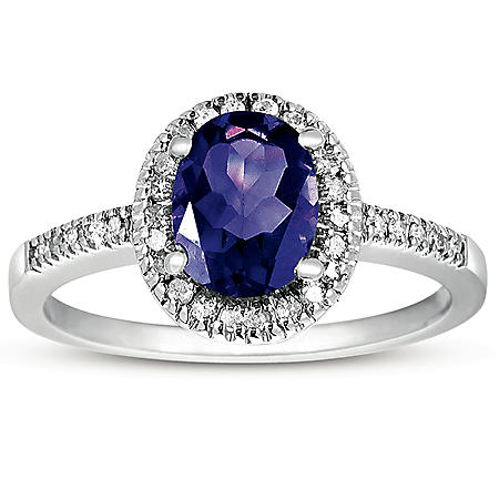 Oval Amethyst and White Topaz Ring Set In 14K White Gold