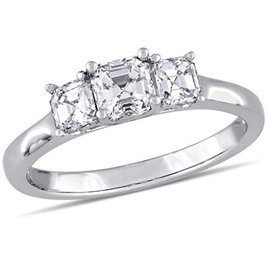 1.0 CT. T.W. Asscher-Cut Three-Stone Diamond Engagement Ring in 14K White Gold